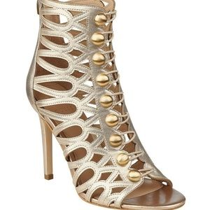 Guess Gold Perlina Button Up Caged Sandals